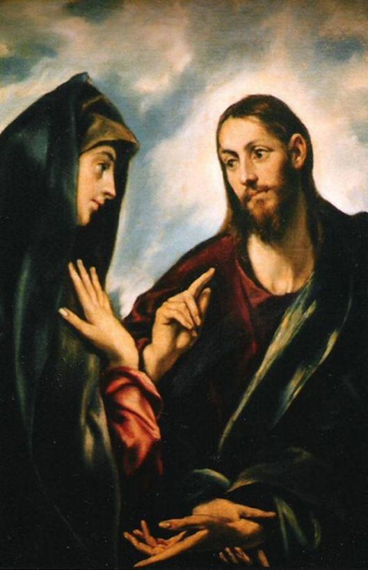 EL GRECO Iisus luandu-Si ramas-bun de la Fecioara, Mama Sa