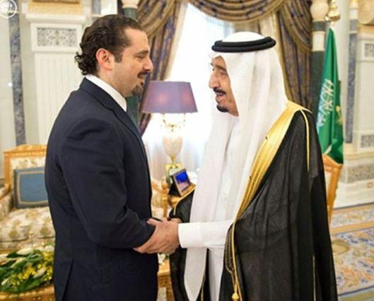 Saad Hariri y el rey Salman bin Abdulaziz al Saud